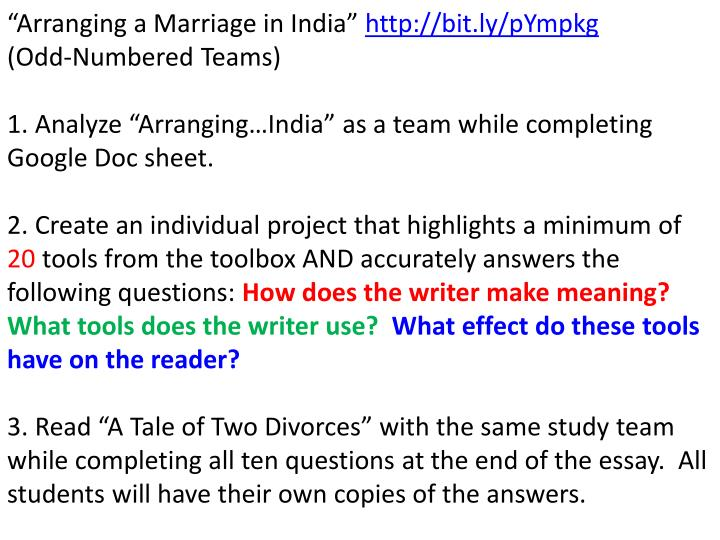 """Arranging a Marriage in India"""