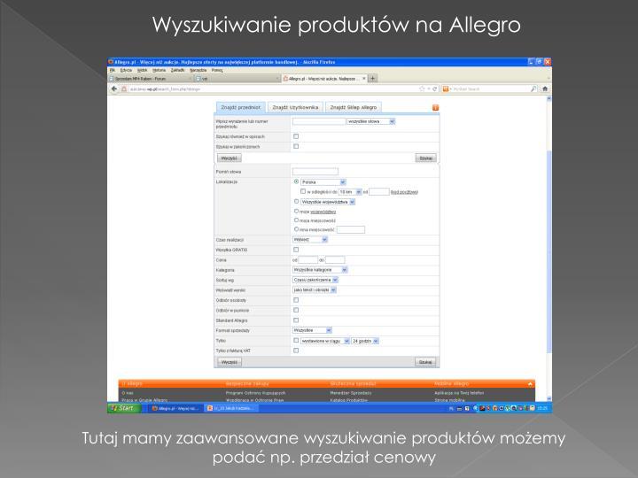 Wyszukiwanie produktów na Allegro
