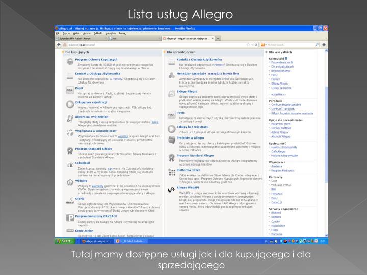 Lista usług Allegro