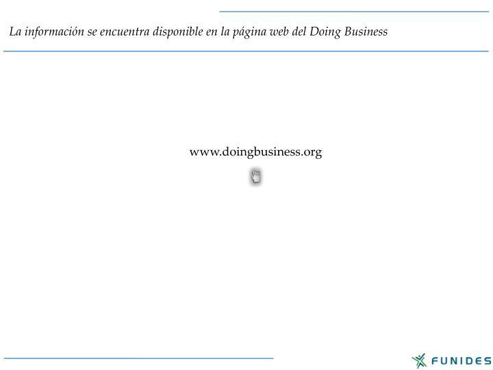 La información se encuentra disponible en la página web del Doing Business