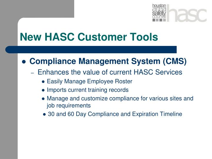 New HASC Customer Tools