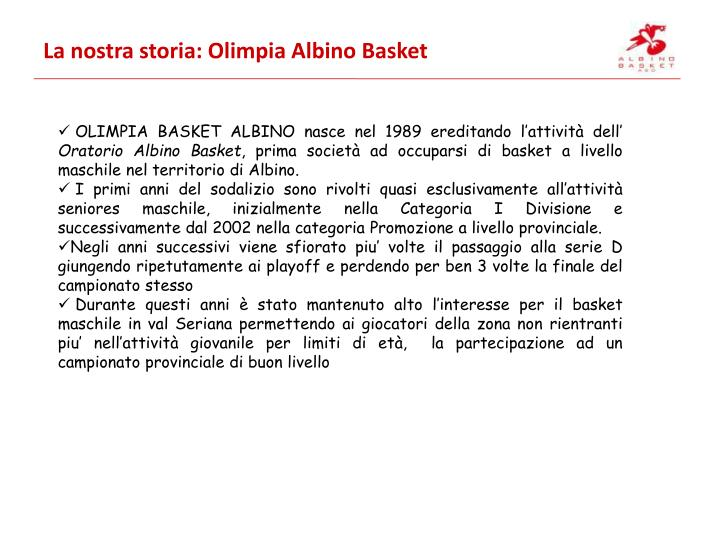 La nostra storia: Olimpia Albino Basket