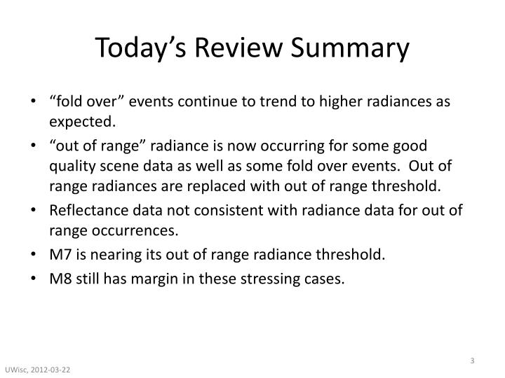 Today s review summary