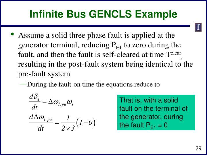 Infinite Bus GENCLS