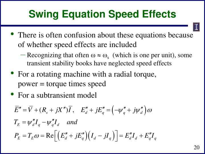 Swing Equation Speed Effects