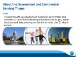 about the government and commercial services theme