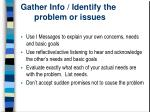 gather info identify the problem or issues