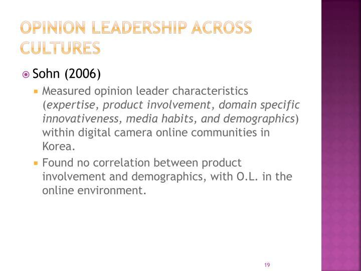 Opinion leadership across cultures