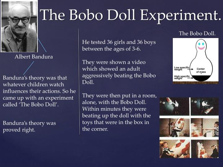 bobo doll Dependent variable- how the child was influenced by the adult model's actions independent variable- how many child were experimented experimental control-.