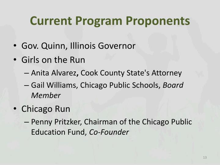 Current Program Proponents