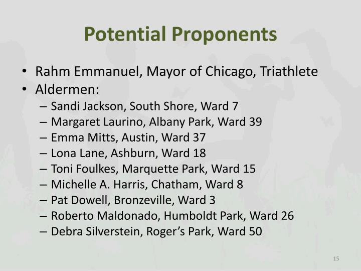 Potential Proponents