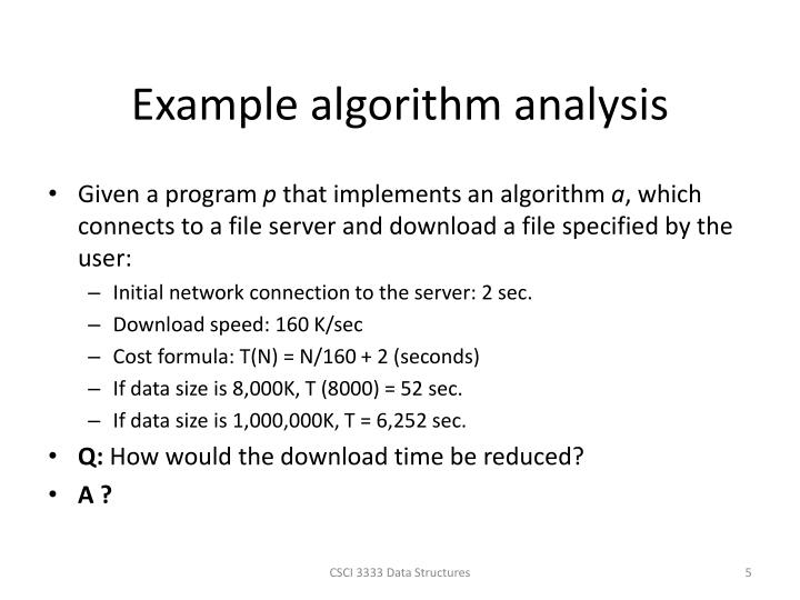 Example algorithm analysis