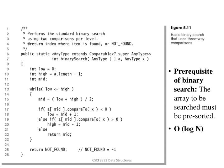 Prerequisite of binary search: