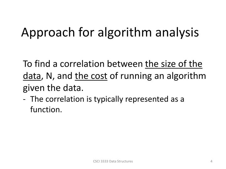 Approach for algorithm analysis