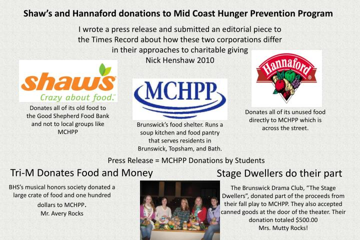 press release mchpp donations by students