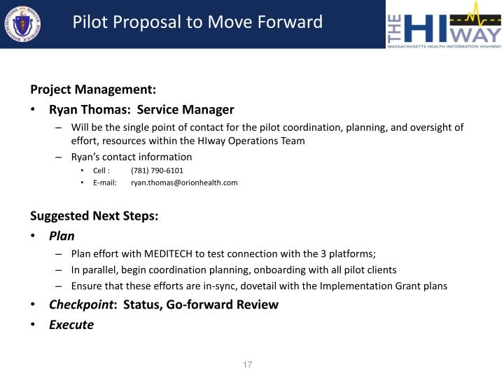 Pilot Proposal to Move Forward
