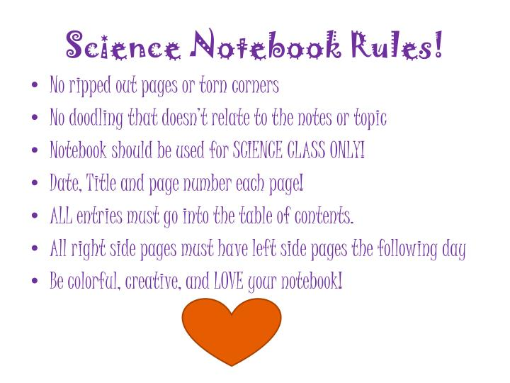 Science Notebook Rules!