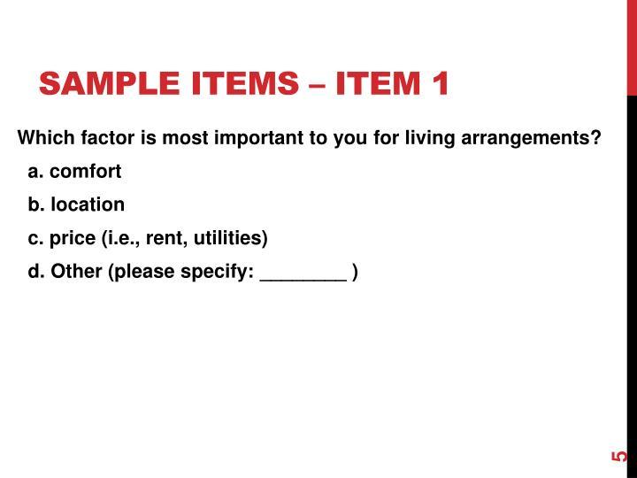 Sample items – Item 1