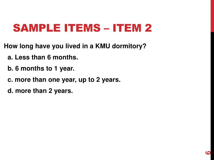 Sample items – Item 2