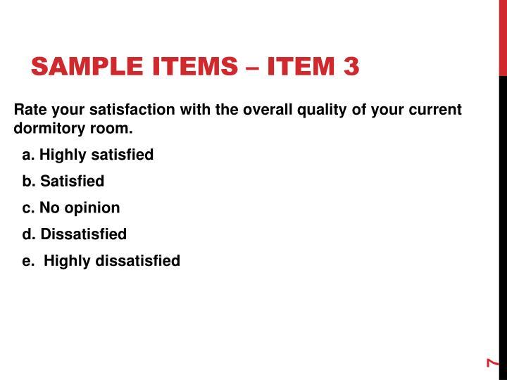 Sample items – item 3