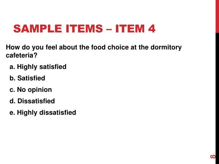 Sample items – item 4