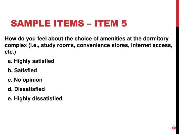 Sample items – item 5