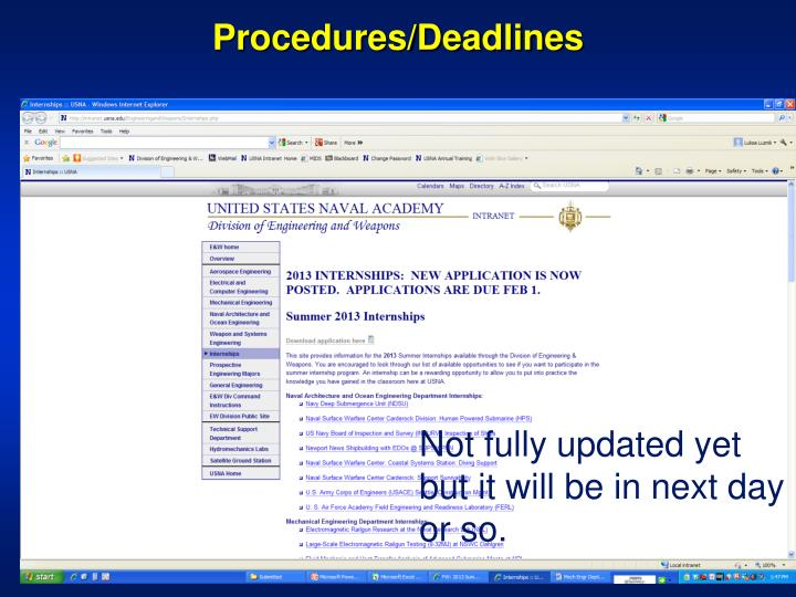 Procedures/Deadlines