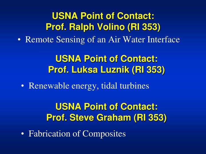 USNA Point of Contact: