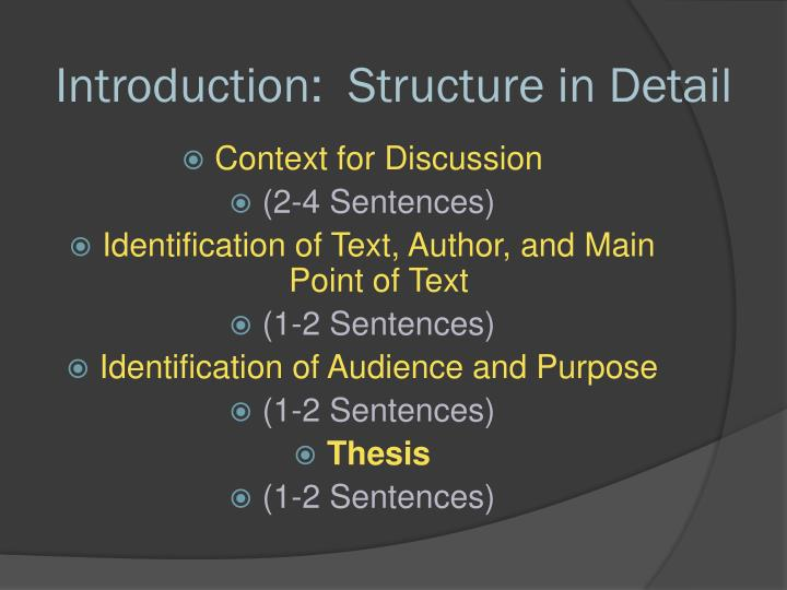 Introduction:  Structure in Detail