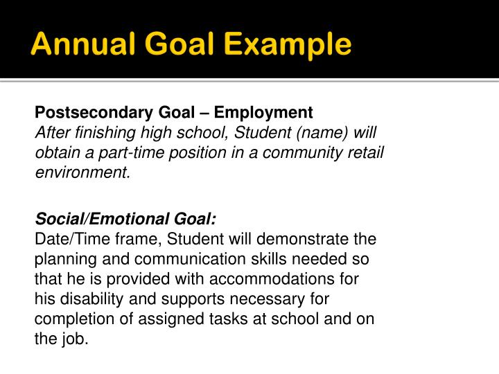 Annual Goal Example