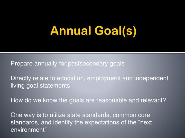 Annual Goal(s)