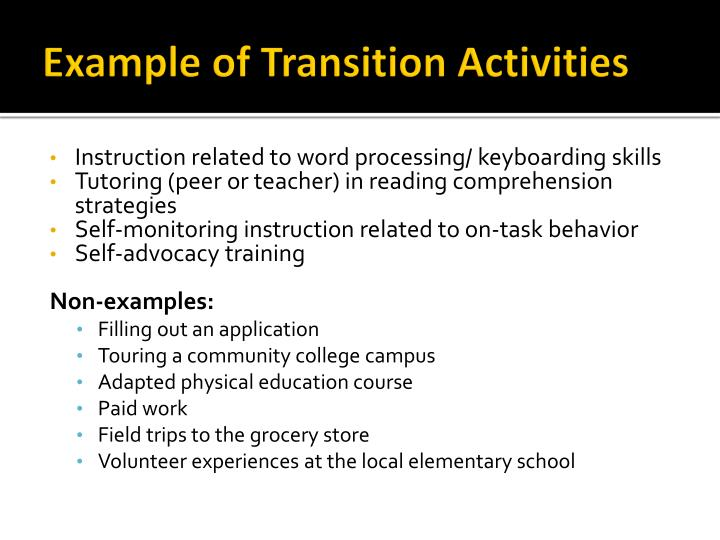 Example of Transition Activities