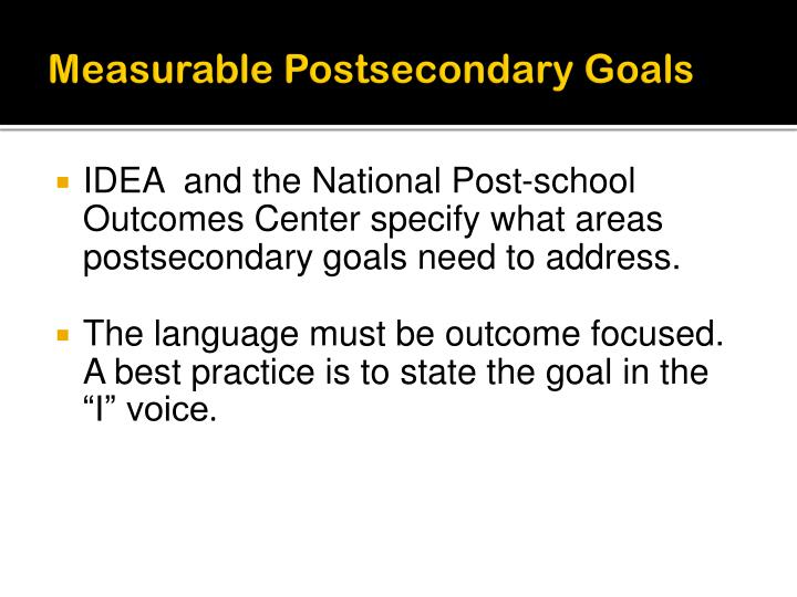 Measurable Postsecondary Goals