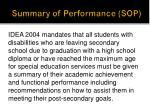 summary of performance sop