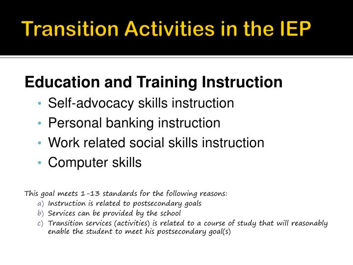 Transition Activities in the IEP