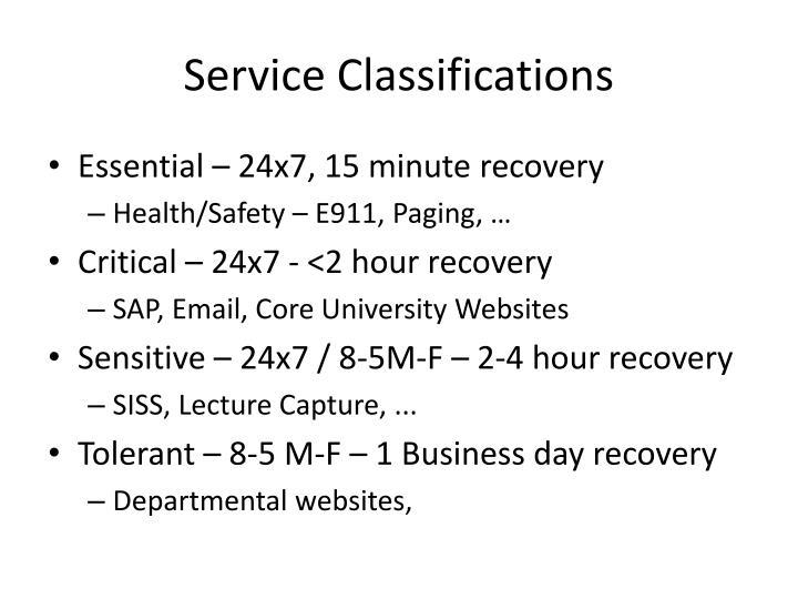 Service classifications
