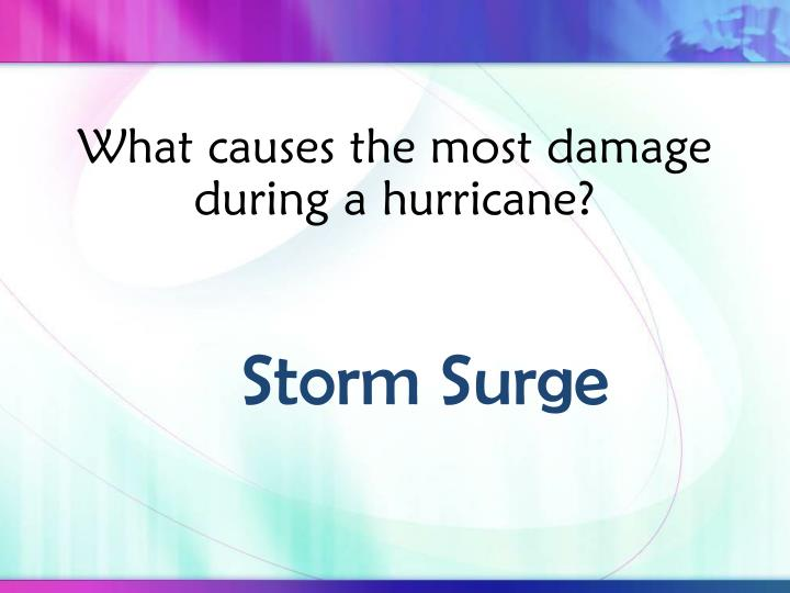 What causes the most damage during a hurricane?