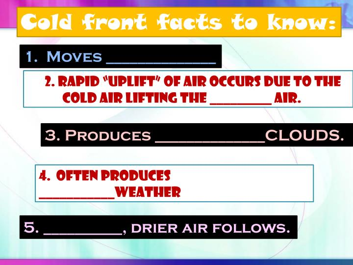 Cold front facts to know: