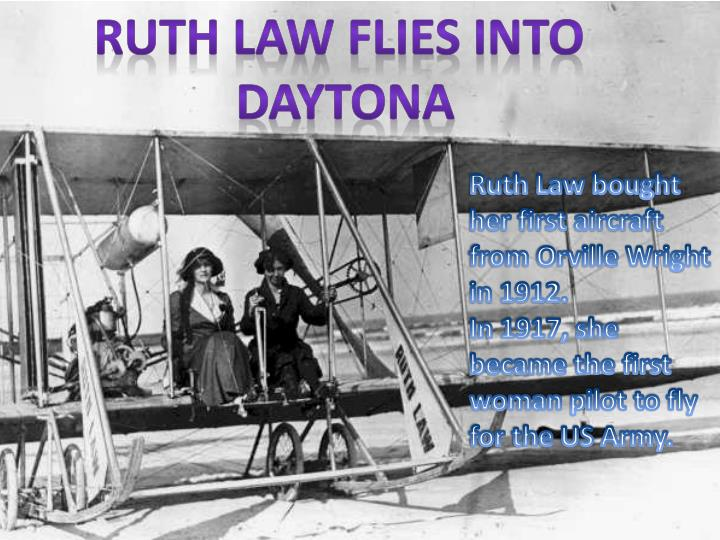 Ruth law flies into