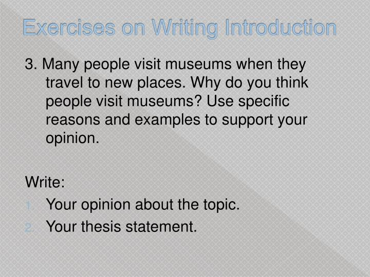 Exercises on Writing Introduction