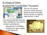 ecological data avalanche landslide tsunami