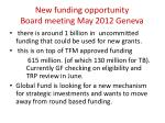 new funding opportunity board meeting may 2012 geneva
