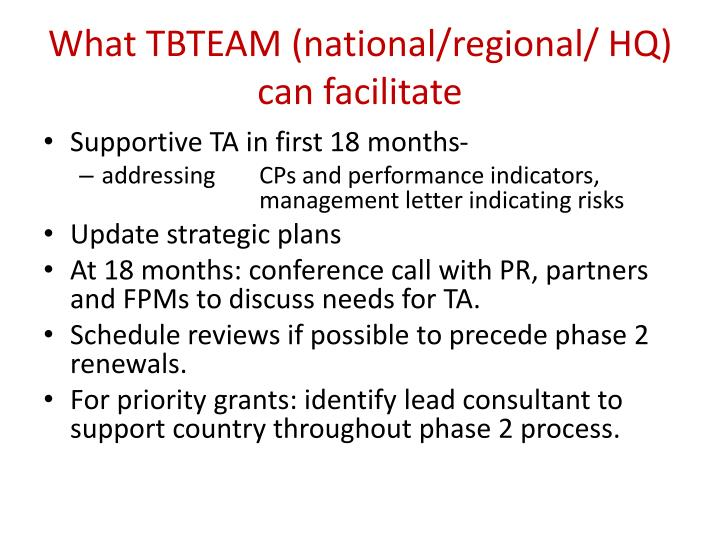 What TBTEAM (national/regional/ HQ) can facilitate