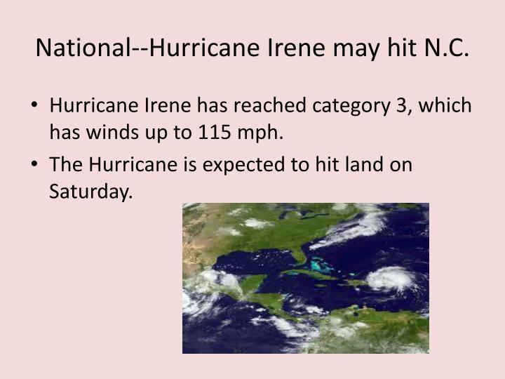 National--Hurricane Irene may hit N.C.