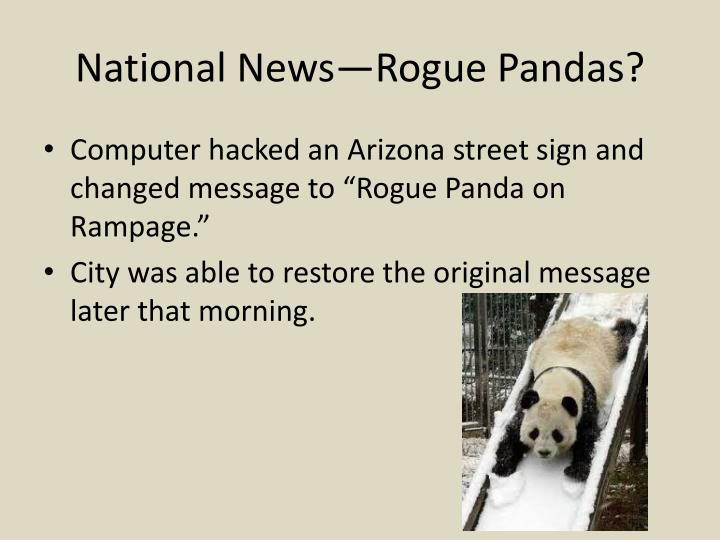 National News—Rogue Pandas?