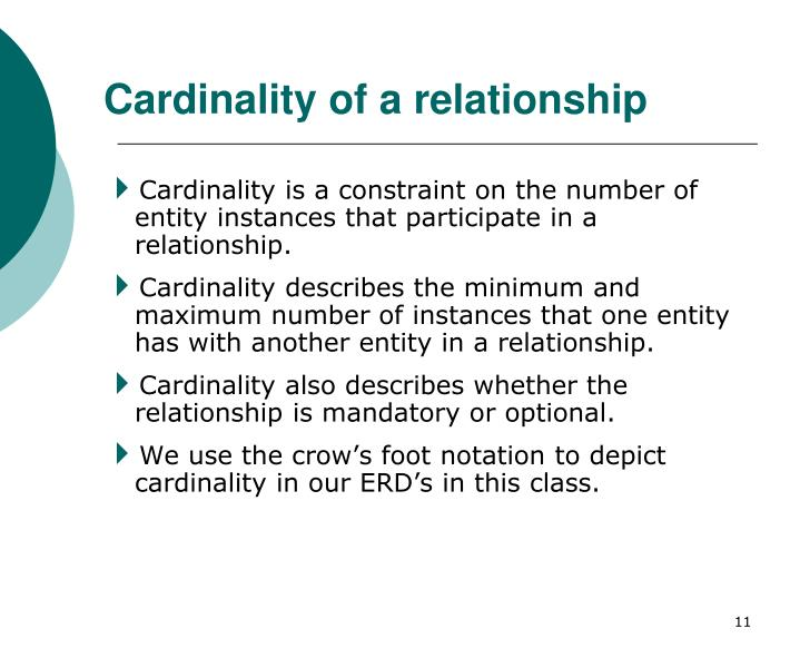 Cardinality of a relationship