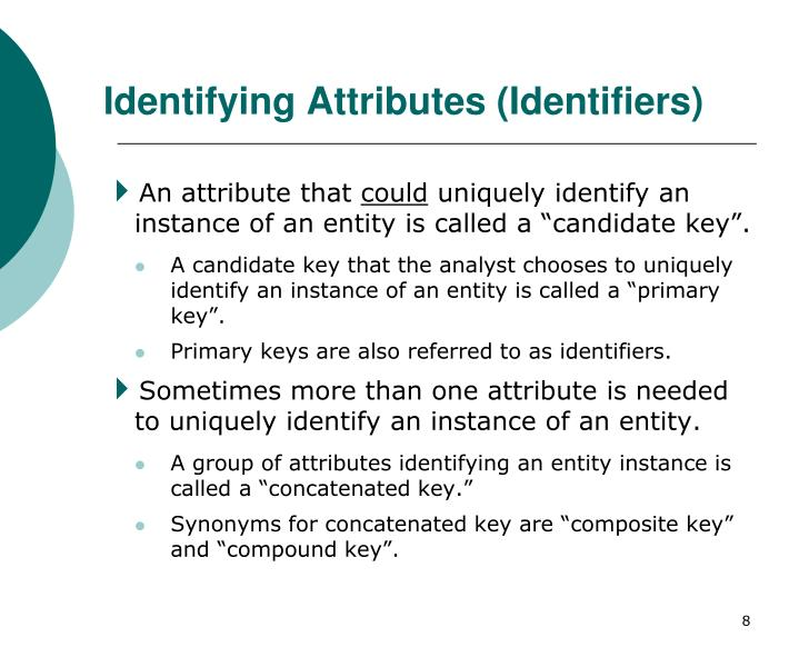 Identifying Attributes (Identifiers)