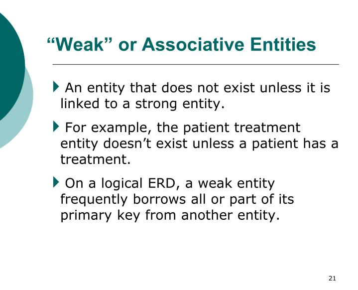 """Weak"" or Associative Entities"