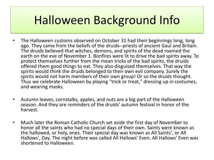 Halloween Background Info