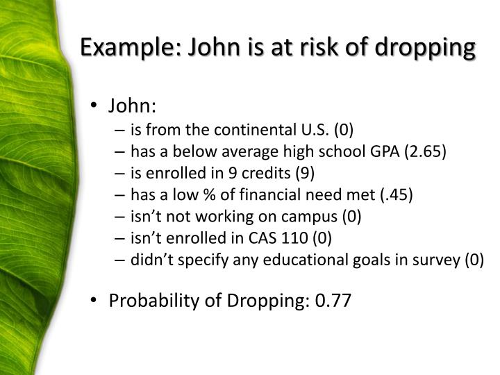 Example: John is at risk of dropping